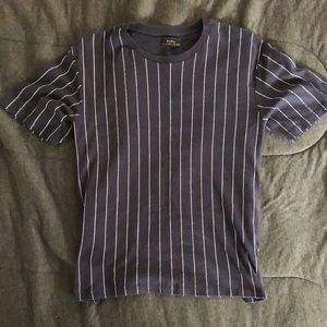 Zara Men Navy Tee with Vertical Stripes, XL